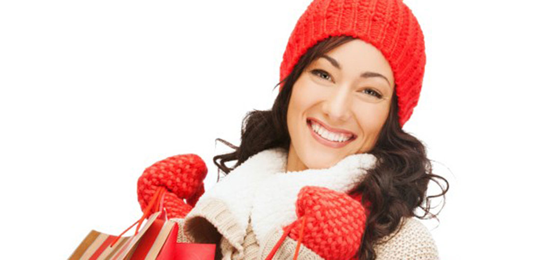 woman bundled up shopping