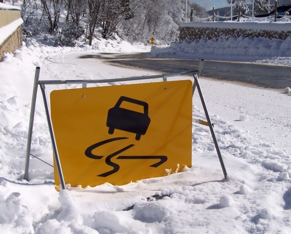 slippery conditions road sign