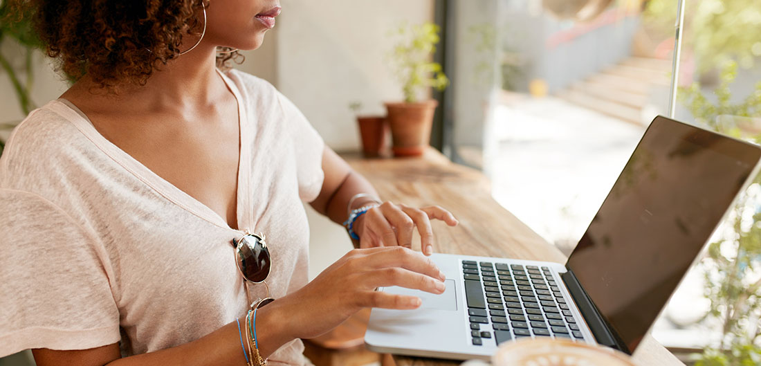 Woman working at laptop