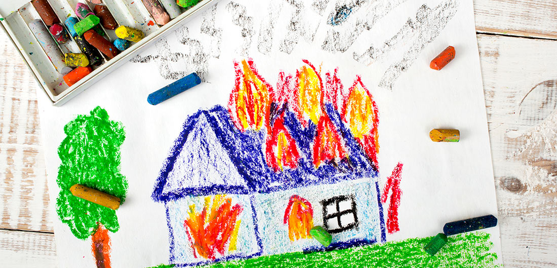 Crayon drawing of house fire