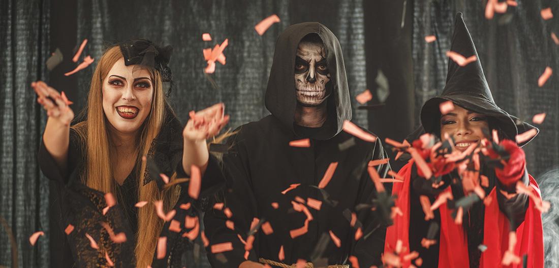 Teens dressed up on halloween