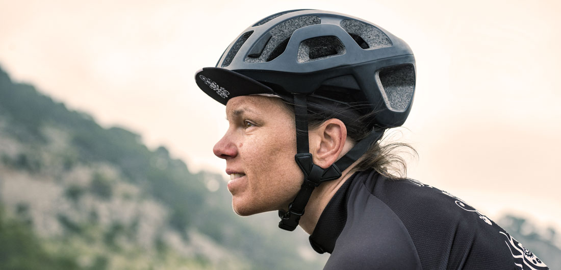 woman wearing bike helmet