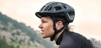woman wearing bike helmet