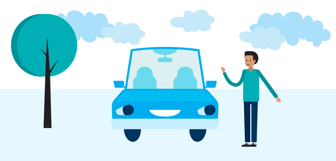 illustrated tree, car and person from the understanding auto insurance infographic