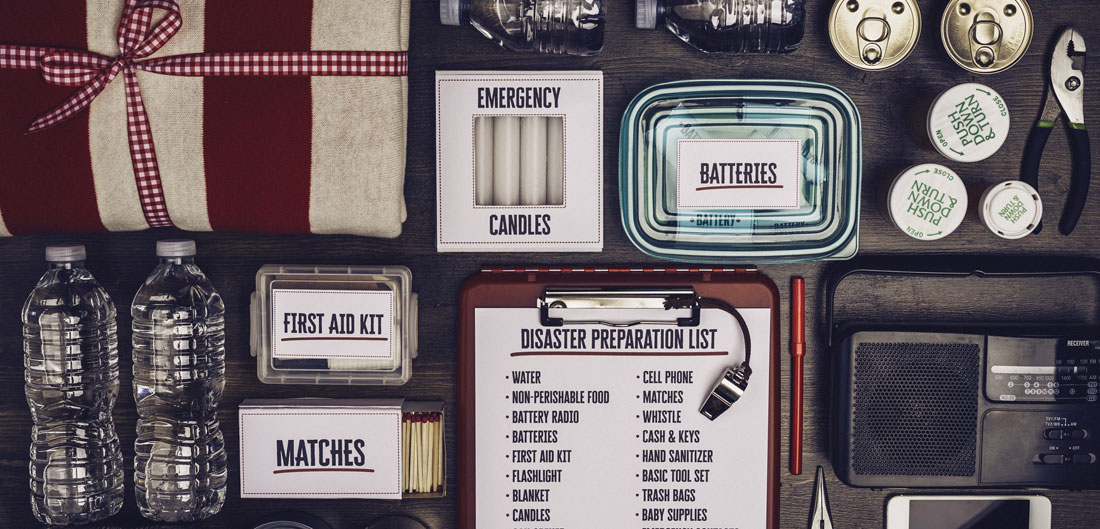 emergency kit items laid out on table