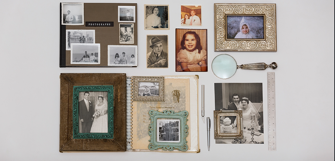 collage of framed black and white family photos