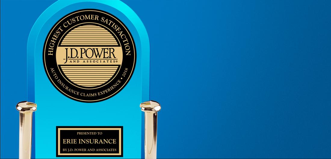 JD power award trophy on blue background