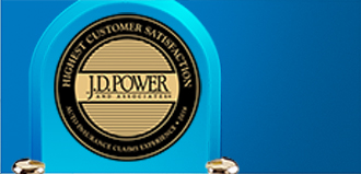 JD power award trophy on blue background
