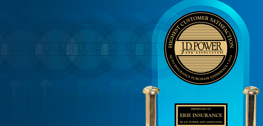 "Trophy engraved with Erie Insurance for ""Highest Satisfaction with the Auto Insurance Purchase Experience"" in the J.D. Power 2019 U.S. Insurance Shopping Study"