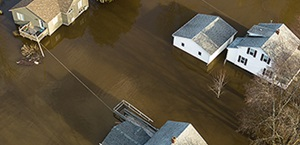 aerial view of major flooding in neighborhood