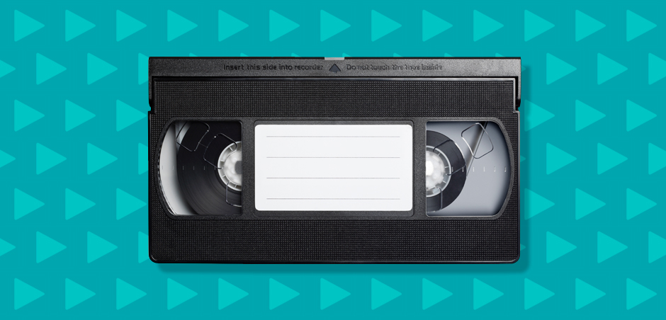 video cassette on blue background