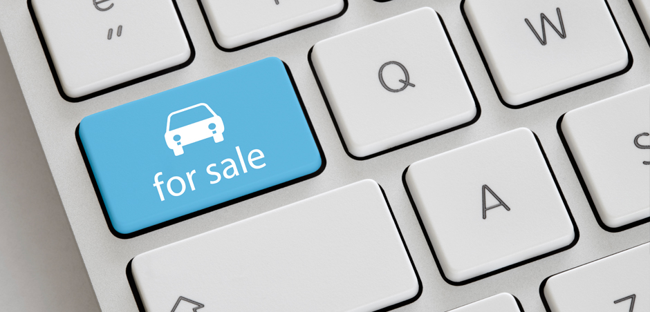 concept image of button on keyboard indicating car for sale