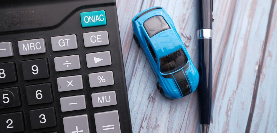 toy car next to calculator
