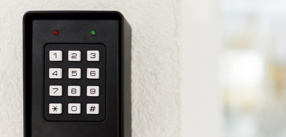 close-up of keypad lock