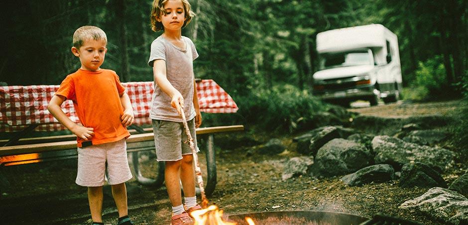 Children at campfire