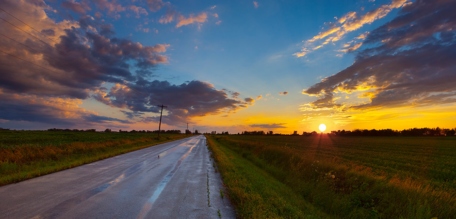 Road with sunset