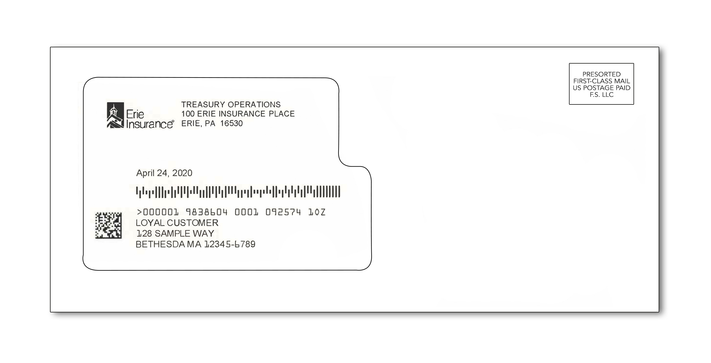 Sample of Erie Insurance dividend relief payment envelope from Erie Insurance Treasury Operations with address window on left half