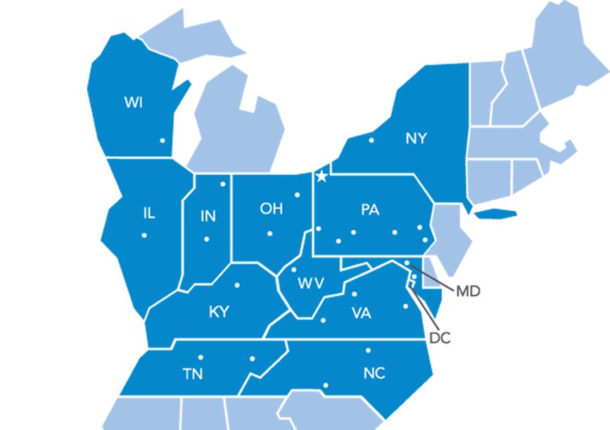 ERIE states of operation include Indiana, Illinois, Kentucky, Maryland, New York, North Carolina, Ohio, Pennsylvania, Tennessee, Virginia, West Virginia, Wisconsin, and the District of Columbia